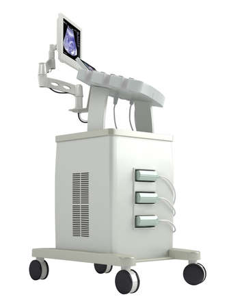 visualise: Ultrasound scanner for ultrasonography or sonic imaging based on tissue density as used in prenatal scanning of a foetus, isolated on a white background