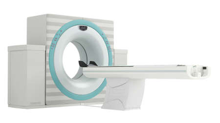 Isolated CT-scanner used in hospital diagnostics to produce a cross-sectional three dimensial image of body tissues photo