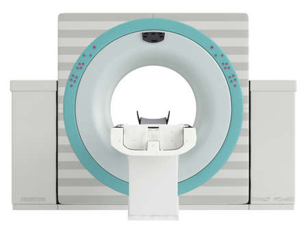visualise: Isolated CT-scanner used in hospital diagnostics to produce a cross-sectional three dimensial image of body tissues