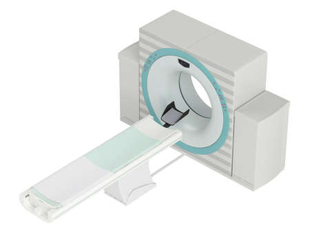 axial: Isolated CT-scanner used in hospital diagnostics to produce a cross-sectional three dimensial image of body tissues
