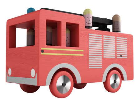 voiture de pompiers: Jouet camion de pompier isolé sur fond blanc Banque d'images