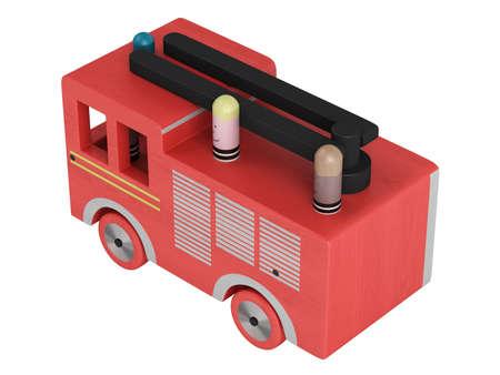 juguetes de madera: Camión de bomberos de juguete aislado sobre fondo blanco Foto de archivo