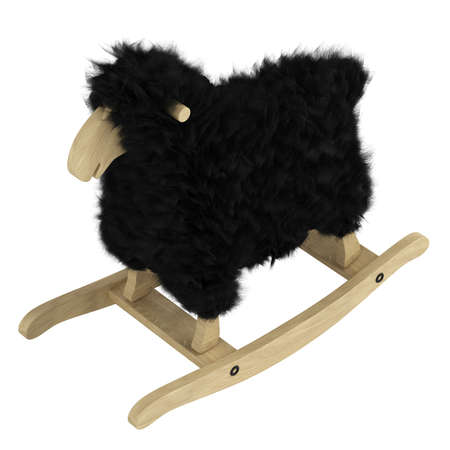 Cute wooden toy on rockers in the shape of a woolly sheep with black fleece isolated on a white background Stock Photo - 15307278