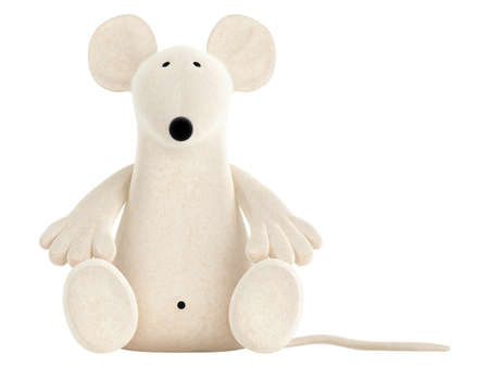 handicrafts: Cute white toy mouse or rat with a rather long nose sitting isolated on a white studio background Stock Photo