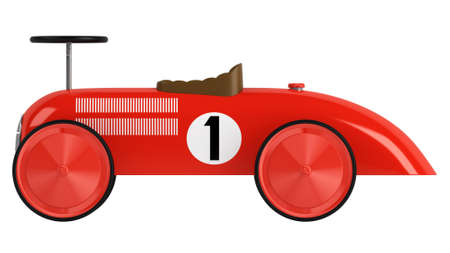 Stylised simple red plastic toy racing car with a number one on its side isolated on white photo