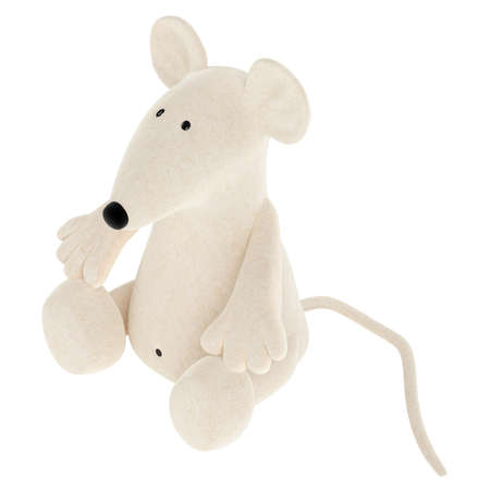 Cute white toy mouse or rat with a rather long nose sitting isolated on a white studio background photo