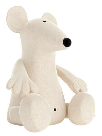 Cute white toy mouse or rat with a rather long nose sitting isolated on a white studio background Stock Photo - 15307290