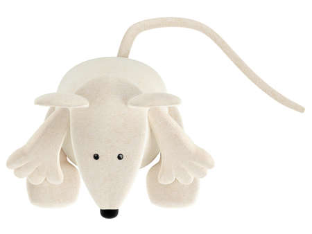 Cute white toy mouse or rat with a rather long nose sitting isolated on a white studio background Stock Photo - 15307283