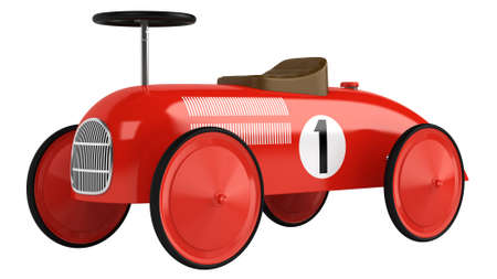 Stylised simple red plastic toy racing car with a number one on its side isolated on white Imagens