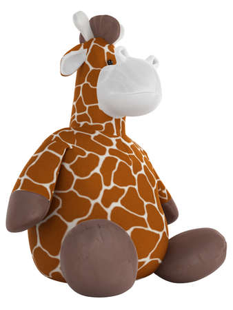stuffed animal: Adorable fat cuddly stuffed giraffe with a spotted pattern on its coat sitting on the floor isolated on white
