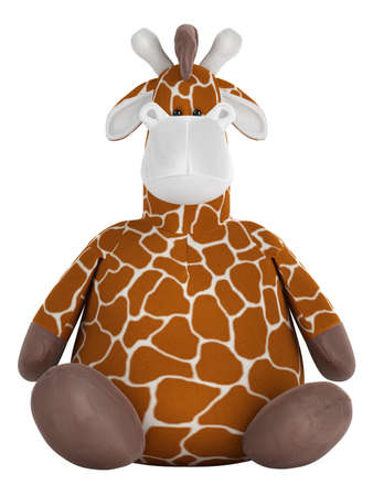 Adorable fat cuddly stuffed giraffe with a spotted pattern on its coat sitting on the floor isolated on white Stock Photo - 15307215