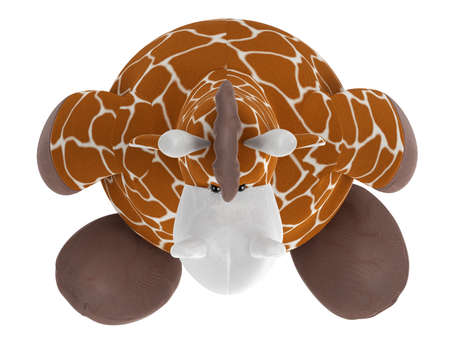 Adorable fat cuddly stuffed giraffe with a spotted pattern on its coat sitting on the floor isolated on white Stock Photo - 15307216