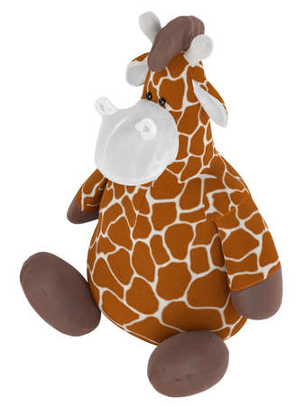 Adorable fat cuddly stuffed giraffe with a spotted pattern on its coat sitting on the floor isolated on white Stock Photo - 15307210