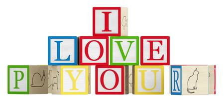 I Love You spelled out on wooden toy alphabet blocks isolated on white photo