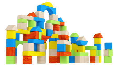 different shapes: Colourful array of different shaped building blocks in geometric shapes including triangles, tubular, curved and arched for teaching a child creativity and design isolated on white