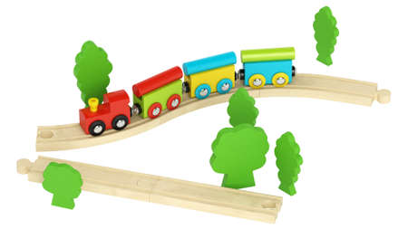 Colourful wooden model train with simple blocky engine and carriages on short lengths of track isolated on white photo