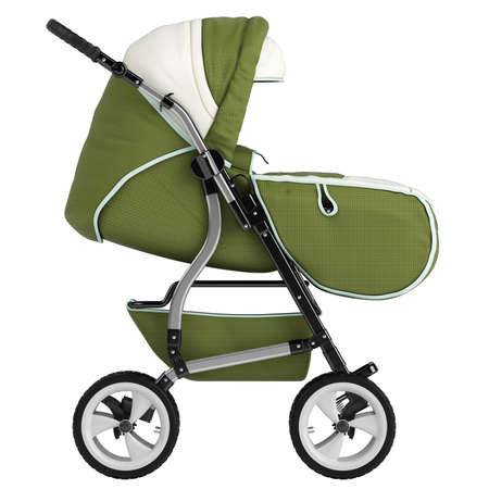 stroll: Isolated baby pram with an upholstered cover and hood for taking the baby out for a stroll or walk isolated on white