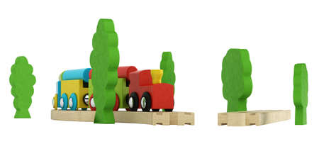 locomotion: Colourful wooden model train with simple blocky engine and carriages on short lengths of track isolated on white