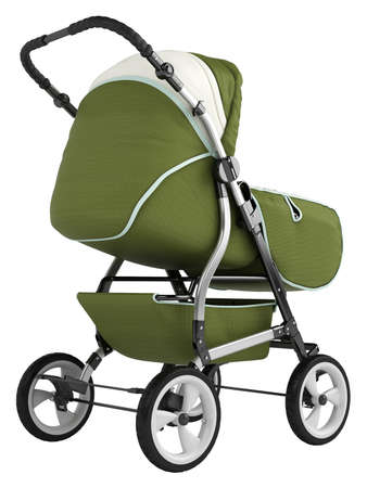 upholstered: Isolated baby pram with an upholstered cover and hood for taking the baby out for a stroll or walk isolated on white
