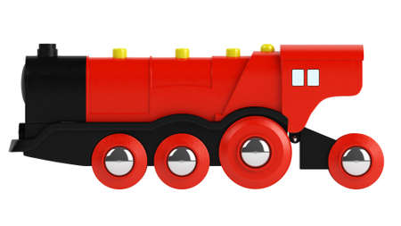 pull toy: Motor rojo de juguete de plástico para jugar y entretener a un niño pequeño aislado en blanco