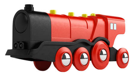 locomotion: Red plastic toy engine for playing with and entertaining a young child isolated on white Stock Photo