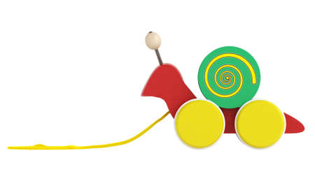 gastropod: Fun wooden multicoloured cartoon snail toy on wheels with a string for pulling it along isolated on white