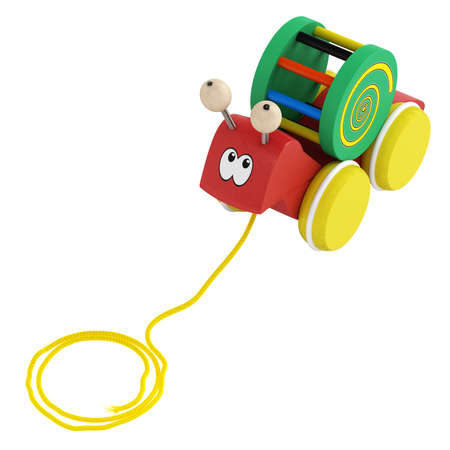 Fun wooden multicoloured cartoon snail toy on wheels with a string for pulling it along isolated on white Stock Photo - 15307250