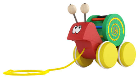 Fun wooden multicoloured cartoon snail toy on wheels with a string for pulling it along isolated on white Stock Photo - 15307201