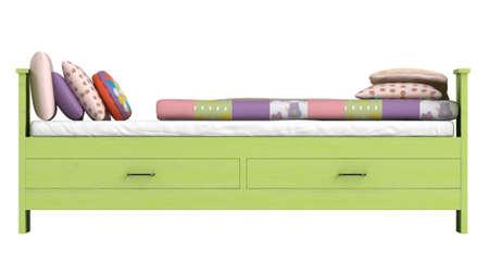 edred�n: Green cama de madera con cajones y un edred�n de retazos de colores o edred�n y los cojines aislados en blanco