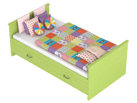 Green wooden bed with storage drawers and a colourful patchwork duvet or comforter and cushions isolated on white