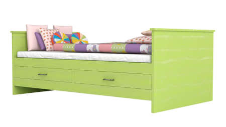 Green wooden bed with storage drawers and a colourful patchwork duvet or comforter and cushions isolated on white photo