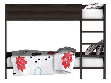 Modern black double bunk bed with colourful bedding with geometric patterns and a ladder leading to the second bed which has high protective sides isolated on white photo