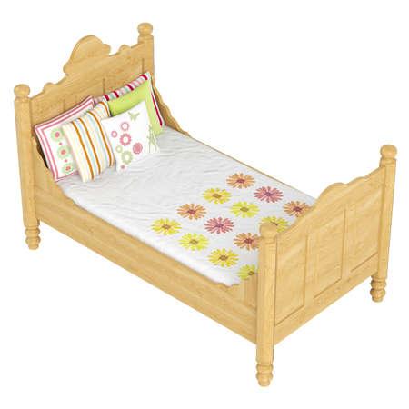 łóżko: Drewniane łóżko w kolorze dębu z kwiatowym deseniem pościelowej całkiem odizolowane na białym