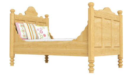 bedlinen: Wooden double bed in light oak with pretty floral patterned bedlinen isolated on white