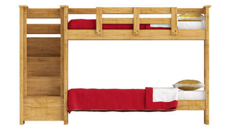 bunk: Wooden double bunk bed with a lattice framework and stairs and red bedlinen isolated on white