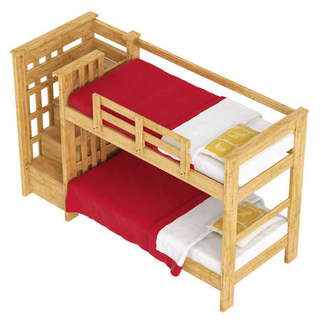Wooden double bunk bed with a lattice framework and stairs and red bedlinen isolated on white Stock Photo - 15306959