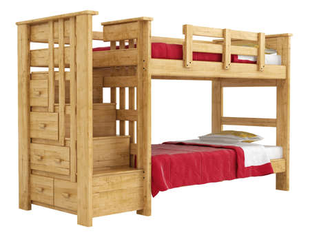 Wooden double bunk bed with a lattice framework and stairs and red bedlinen isolated on white