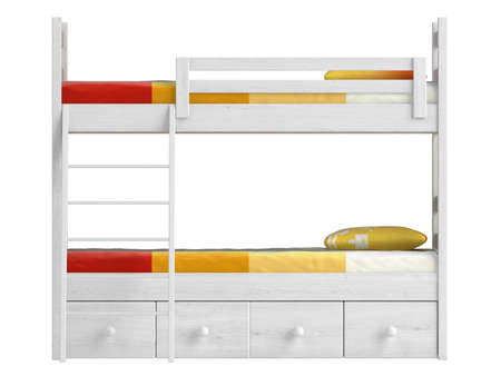 Double bunk bed with storage drawers and a ladder painted white with colourful orange bedding isolated on white