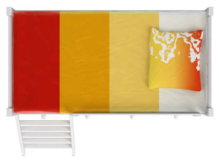 double bed: Double bunk bed with storage drawers and a ladder painted white with colourful orange bedding isolated on white