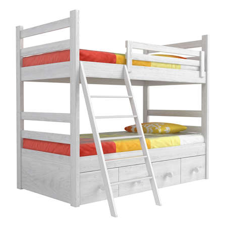 bunk: Double bunk bed with storage drawers and a ladder painted white with colourful orange bedding isolated on white