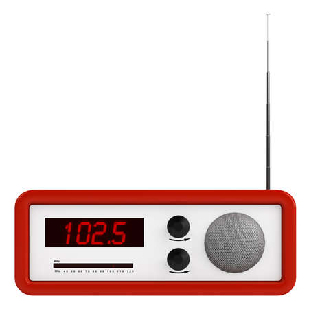 Red portable transistor radio with buttons, dial and aerial isolated on white photo