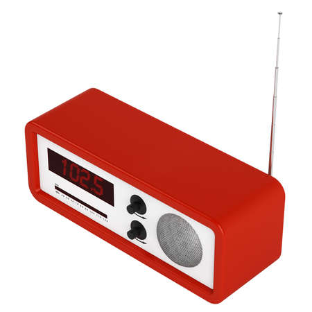 transistor: Red portable transistor radio with buttons, dial and aerial isolated on white
