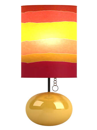 table lamp: Colourful cylindrical lampshade in shades of red, yellow and orange with a burning globe and shiny oval ceramic base isolated on white Stock Photo