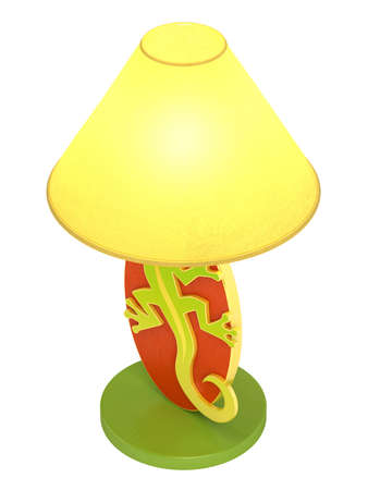 Modern colourful wooden lamp with an oval base with a lizard cutout and a cheerful yellow lampshade isolated on white photo