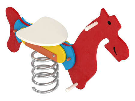 sprung: Colourful toy jumping horse with a seat for a child above a saddle and a large metal spring underneath for bounce and fun isolated on white