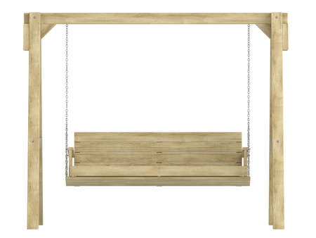 sturdy: Wooden garden swing bench with a sturdy A-frame construction for relaxing in comfort isolated on white
