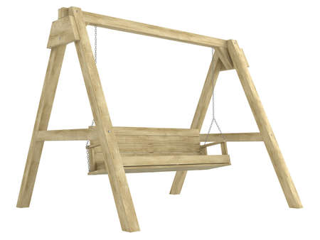 swing seat: Wooden garden swing bench with a sturdy A-frame construction for relaxing in comfort isolated on white