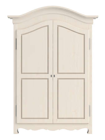 Rustic white painted wooden cupboard with a gable top isolated on white photo