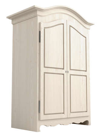 Rustic white painted wooden cupboard with a gable top isolated on white Stock Photo - 15518900