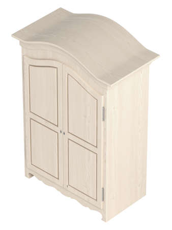 closet door: Rustic white painted wooden cupboard with a gable top isolated on white
